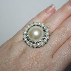Beautiful silver and pearl adjustable ring